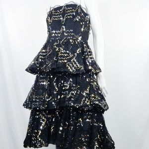 VTG Lillie Rubin Black Lace Ruffle Sequin Dress